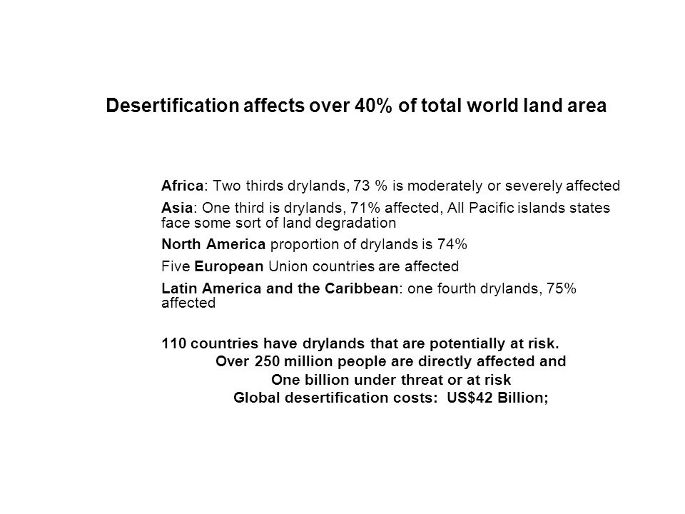 Desertification affects over 40% of total world land area