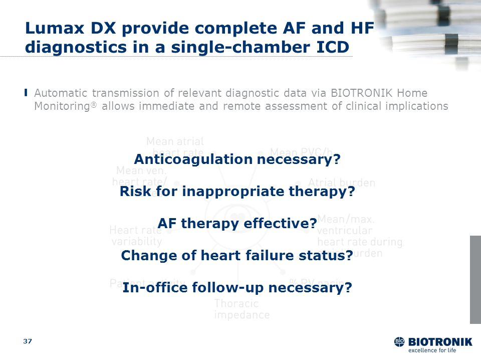 optimized Lumax DX provide complete AF and HF diagnostics in a single-chamber ICD.