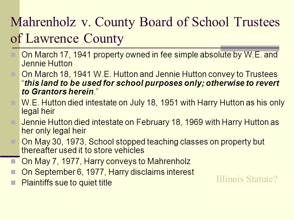 Mahrenholz v. County Board of School Trustees of Lawrence County