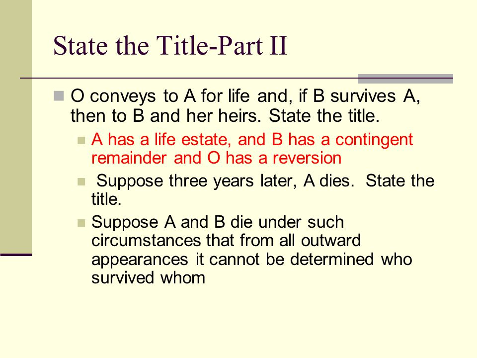 State the Title-Part II