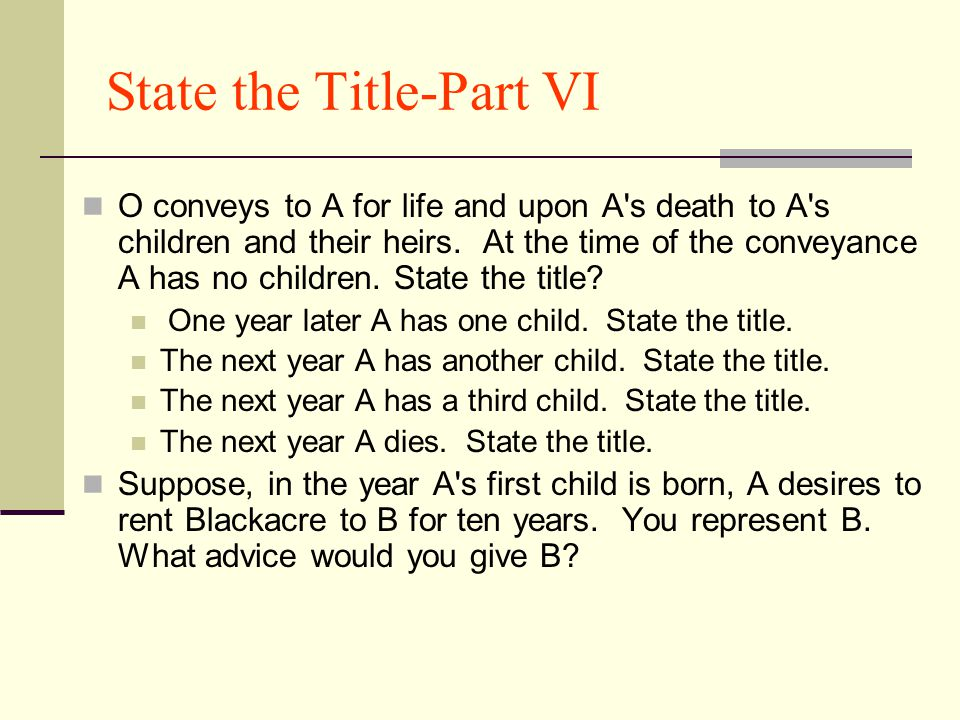 State the Title-Part VI