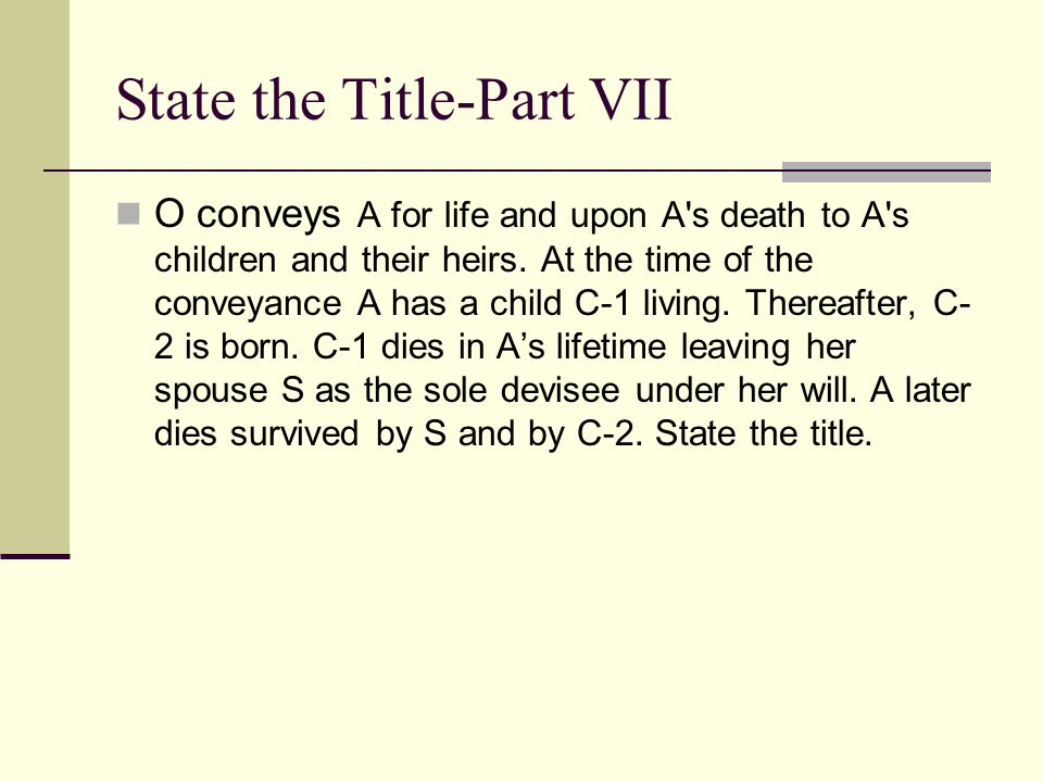 State the Title-Part VII