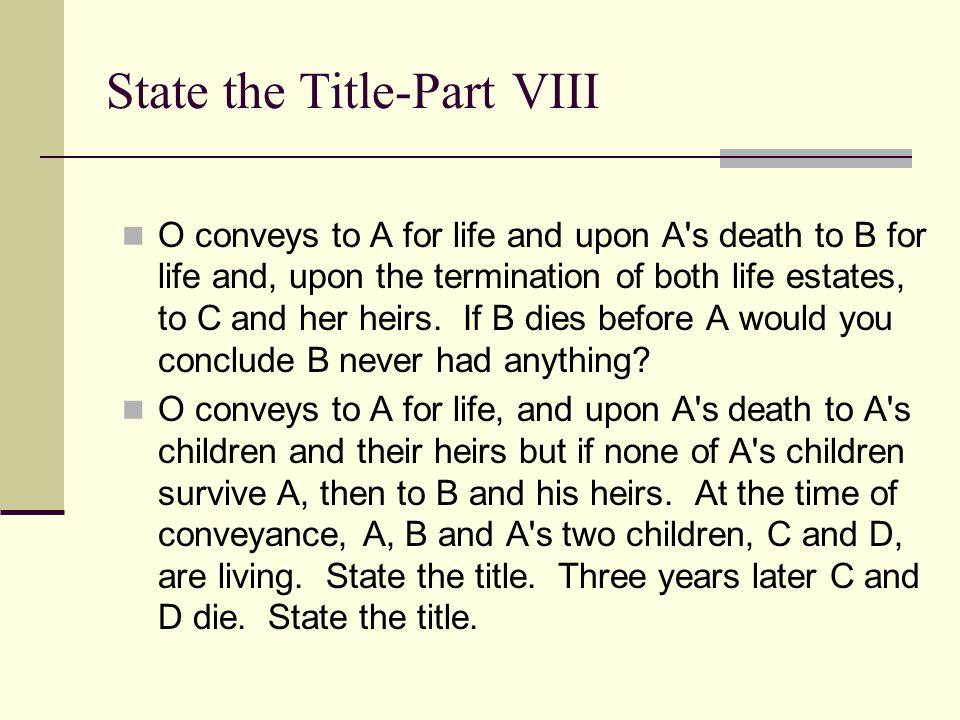State the Title-Part VIII