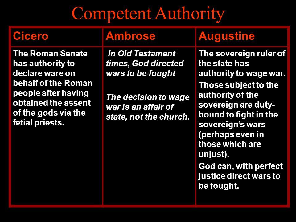 Competent Authority Cicero Ambrose Augustine