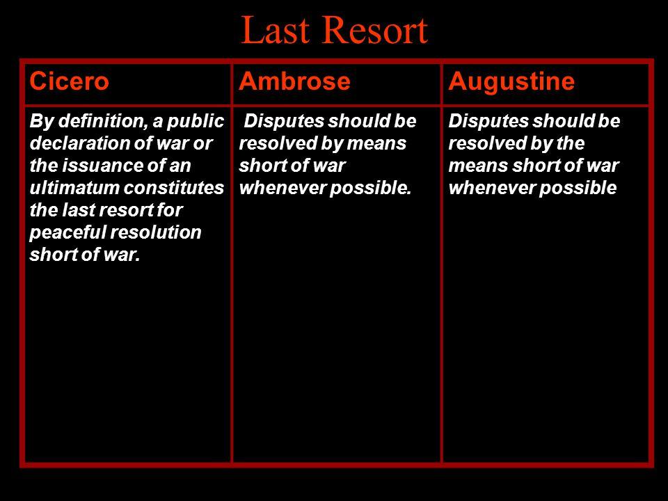Last Resort Cicero Ambrose Augustine