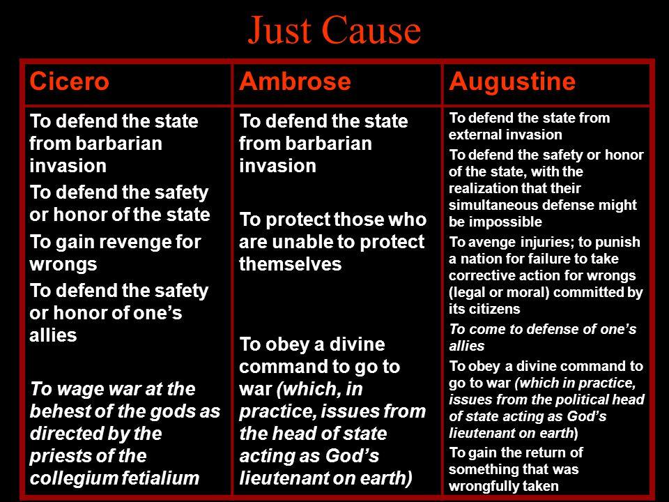 Just Cause Cicero Ambrose Augustine