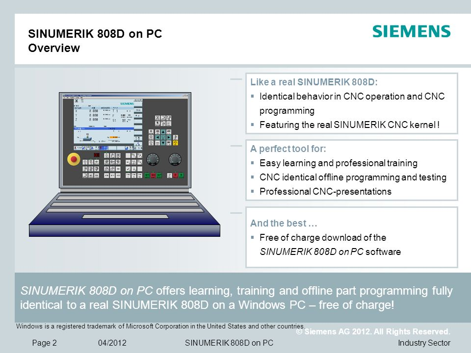 SINUMERIK 808D on PC Overview
