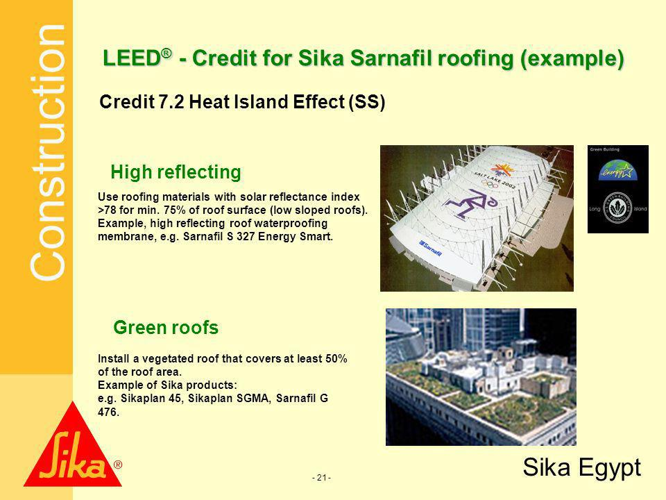 LEED® - Credit for Sika Sarnafil roofing (example)