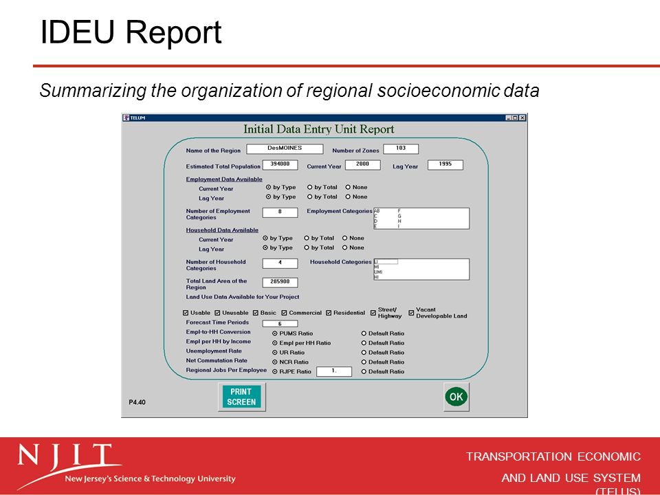 IDEU Report Summarizing the organization of regional socioeconomic data