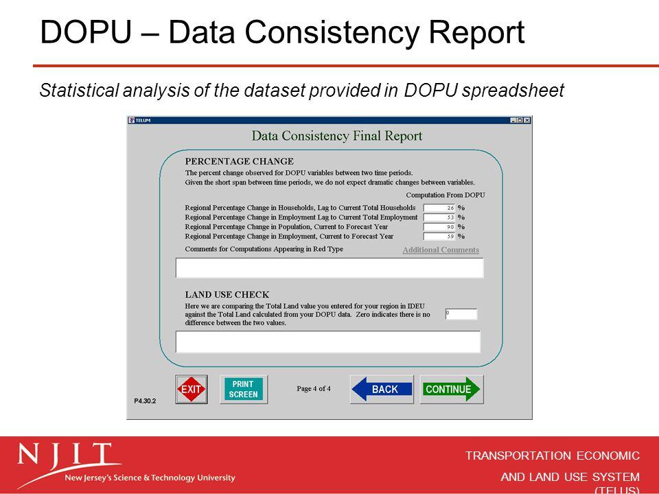 DOPU – Data Consistency Report