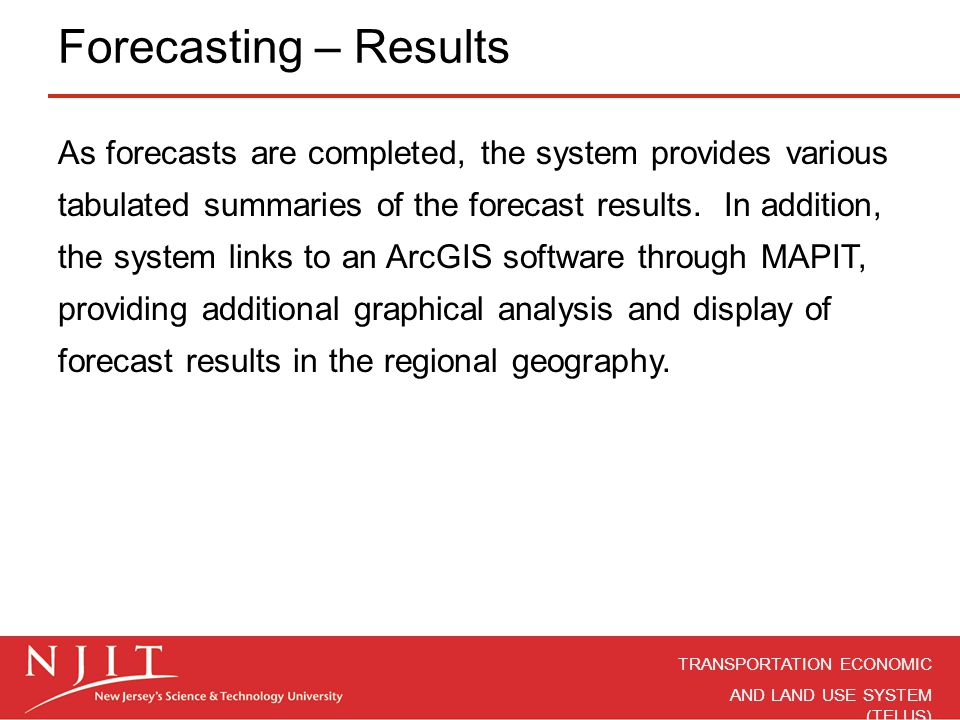 Forecasting – Results