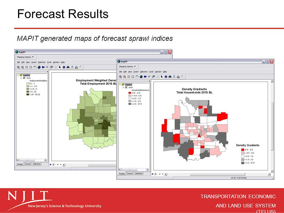 Forecast Results MAPIT generated maps of forecast sprawl indices