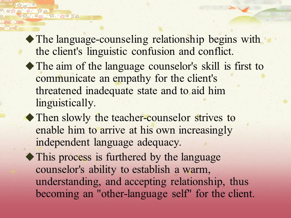 The language-counseling relationship begins with the client s linguistic confusion and conflict.