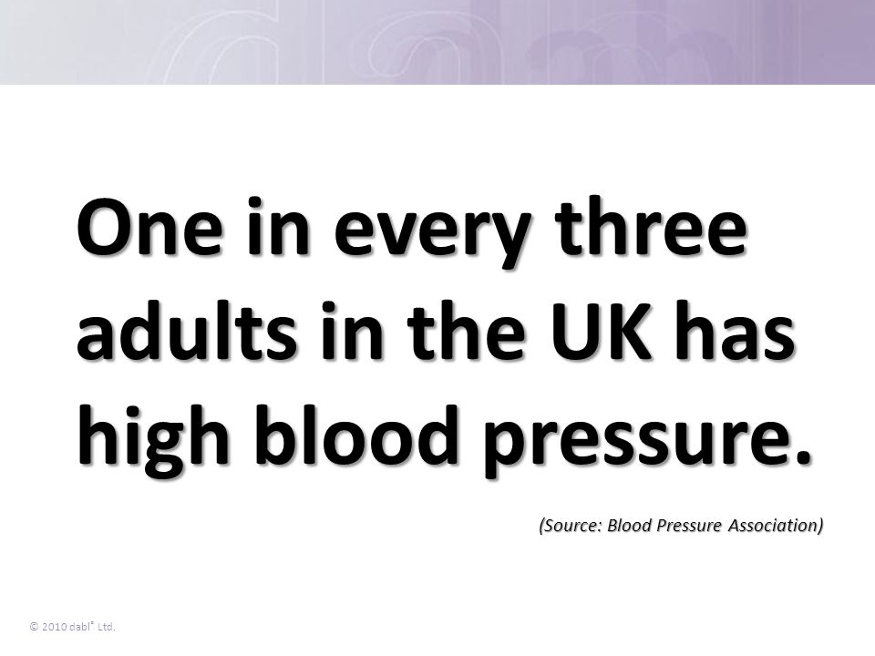 One in every three adults in the UK has high blood pressure.