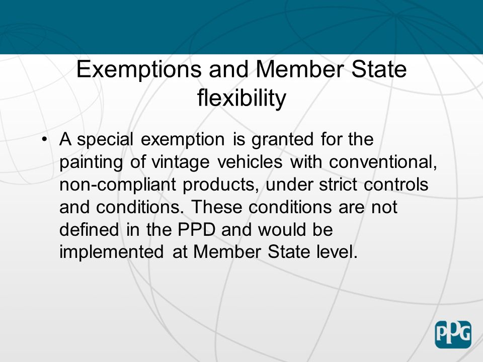 Exemptions and Member State flexibility