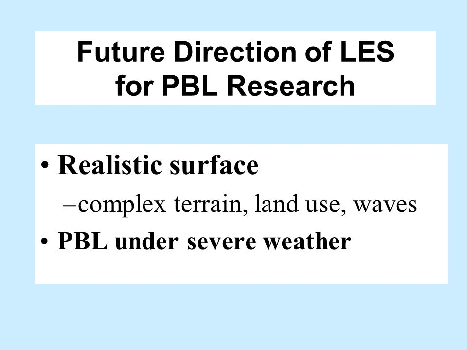 Future Direction of LES for PBL Research