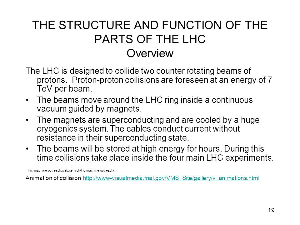 THE STRUCTURE AND FUNCTION OF THE PARTS OF THE LHC Overview