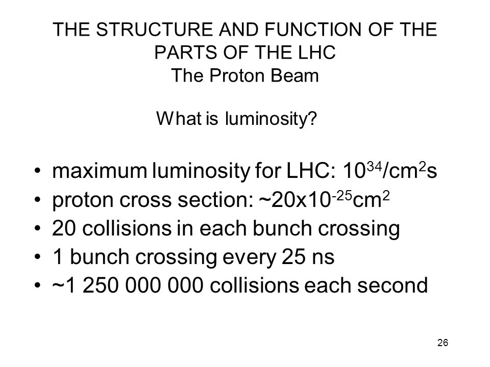 THE STRUCTURE AND FUNCTION OF THE PARTS OF THE LHC The Proton Beam