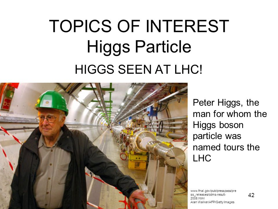 TOPICS OF INTEREST Higgs Particle