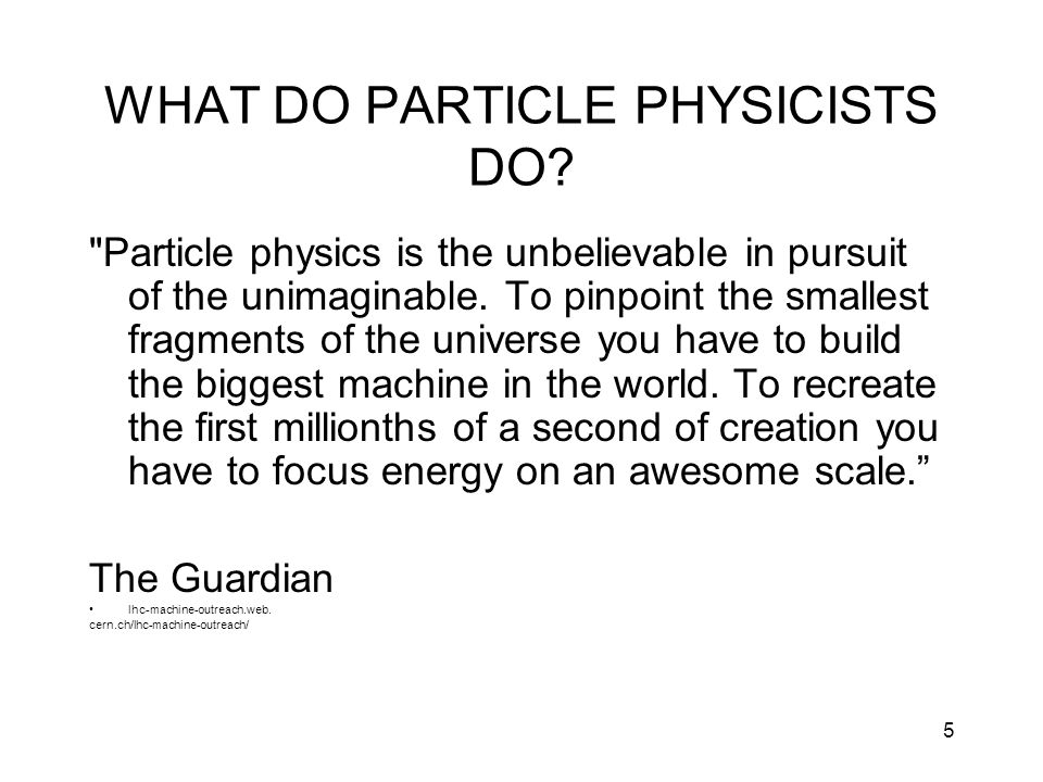 WHAT DO PARTICLE PHYSICISTS DO