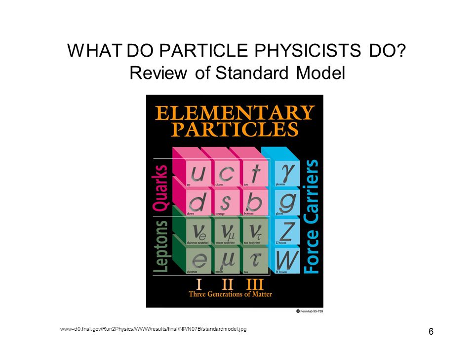 WHAT DO PARTICLE PHYSICISTS DO Review of Standard Model