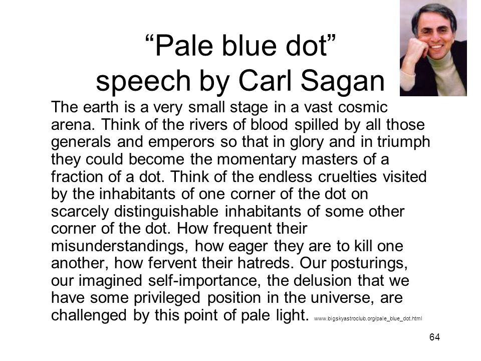 Pale blue dot speech by Carl Sagan