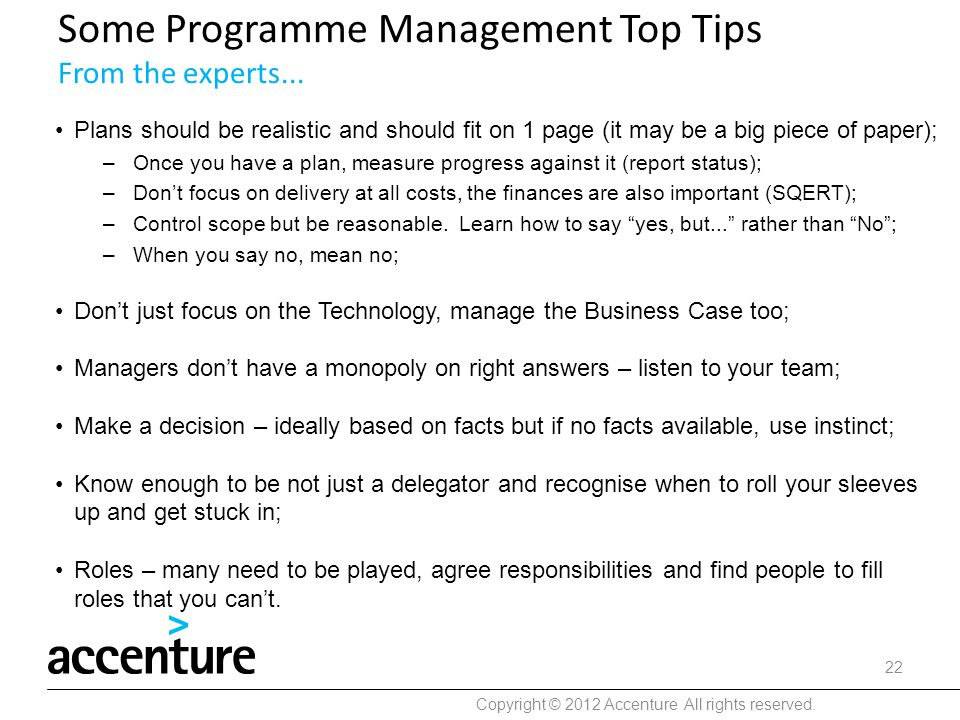 Some Programme Management Top Tips From the experts...
