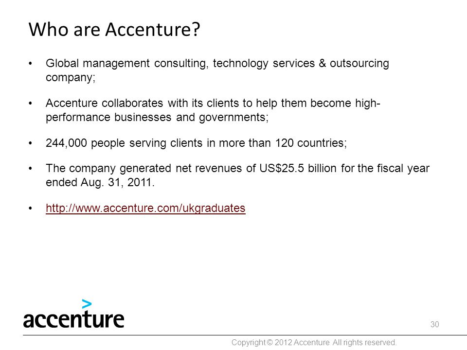 Copyright © 2012 Accenture All rights reserved.