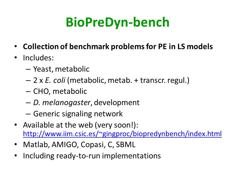 BioPreDyn-bench Collection of benchmark problems for PE in LS models