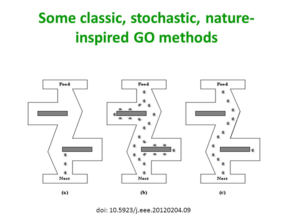 Some classic, stochastic, nature-inspired GO methods