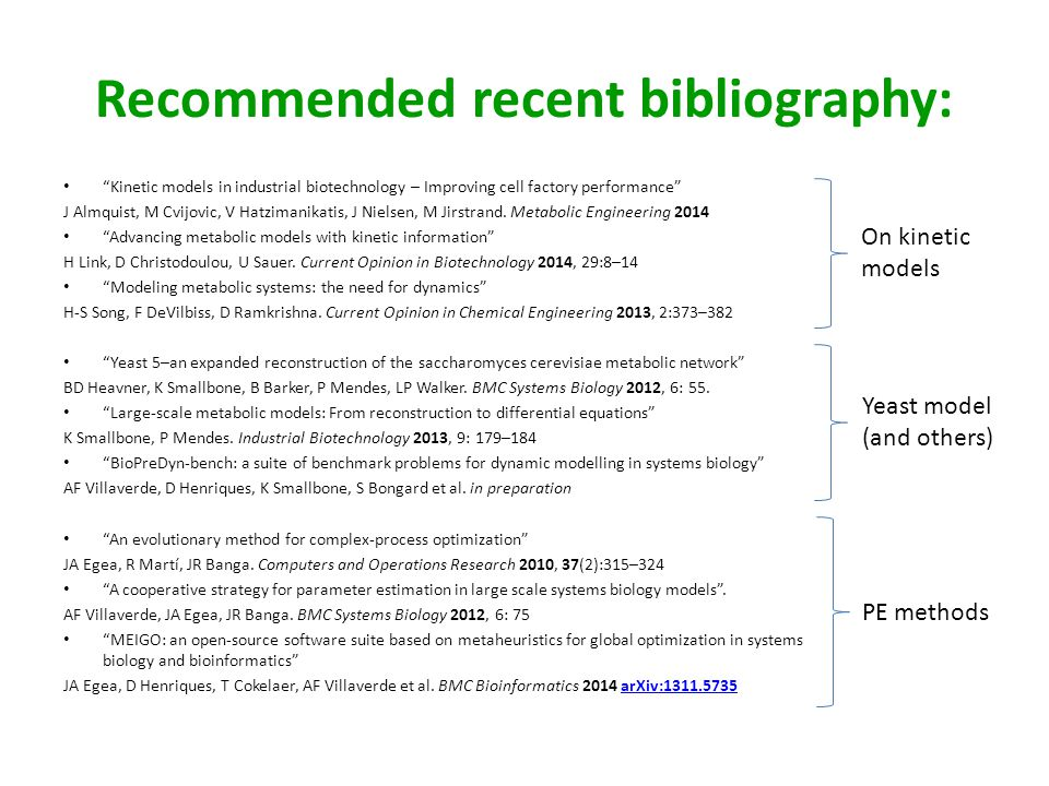 Recommended recent bibliography: