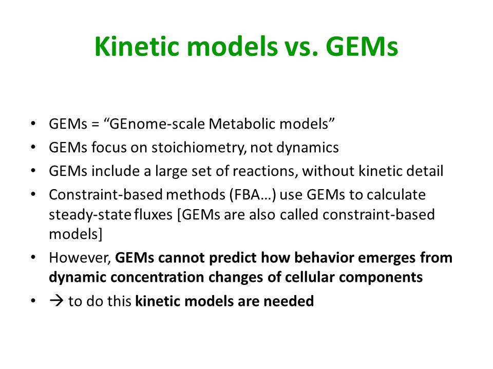 Kinetic models vs. GEMs GEMs = GEnome-scale Metabolic models