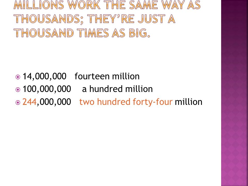 Millions work the same way as thousands; they're just a thousand times as big.