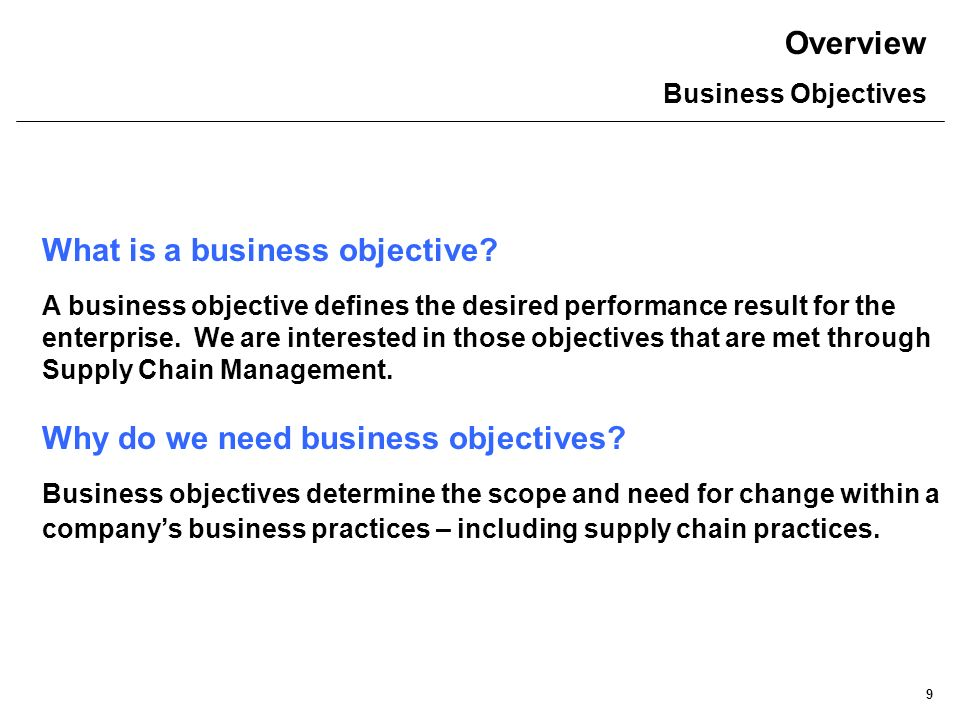 Overview Business Objectives