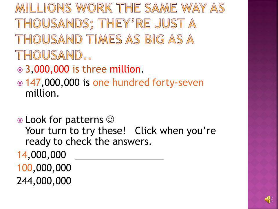 Millions work the same way as thousands; they're just a thousand times as big as a thousand..
