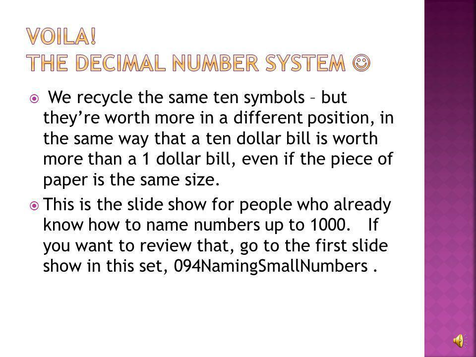 Voila! The Decimal number system 