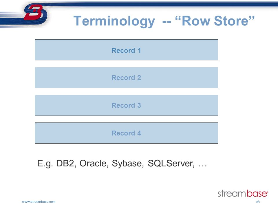 Terminology -- Row Store