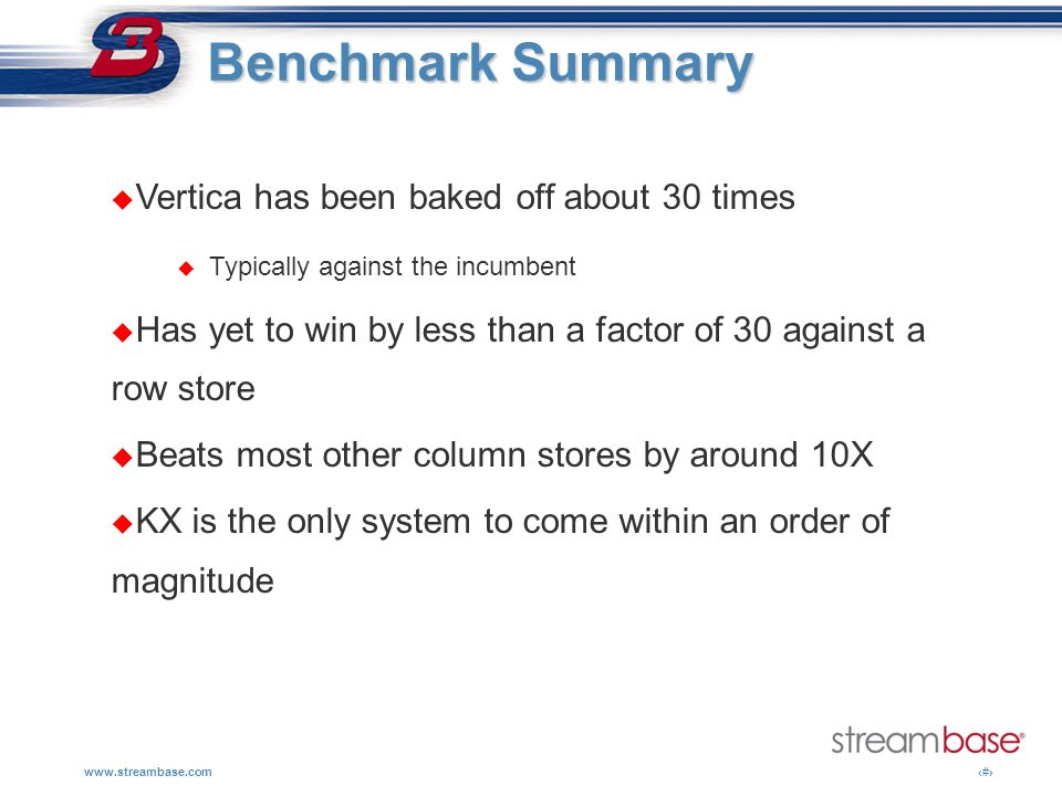 Benchmark Summary Vertica has been baked off about 30 times