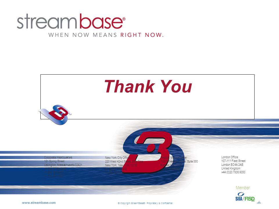 Thank You Corporate Headquarters 181 Spring Street Lexington, Massachusetts 02421 +1 866 STRMBAS +1 866 787 6227 +1 781 761 0800.
