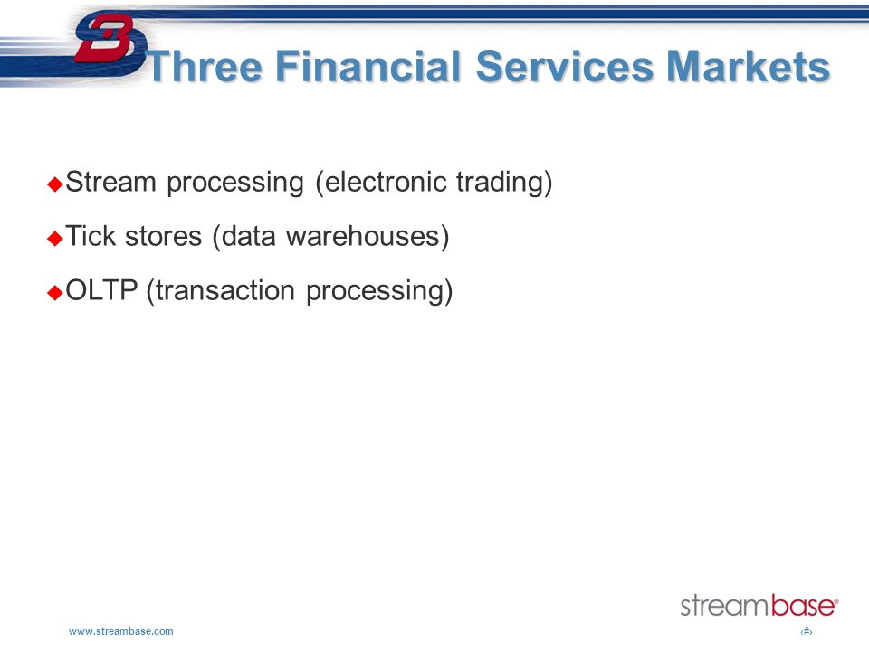 Three Financial Services Markets