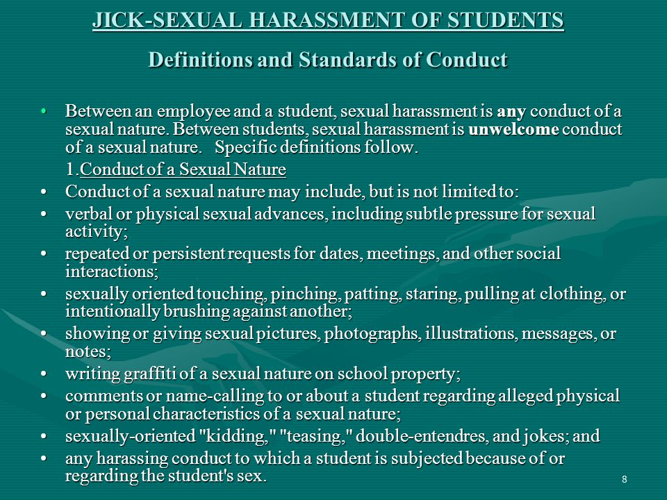 JICK-SEXUAL HARASSMENT OF STUDENTS Definitions and Standards of Conduct