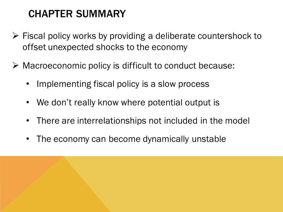 Chapter Summary Fiscal policy works by providing a deliberate countershock to offset unexpected shocks to the economy.