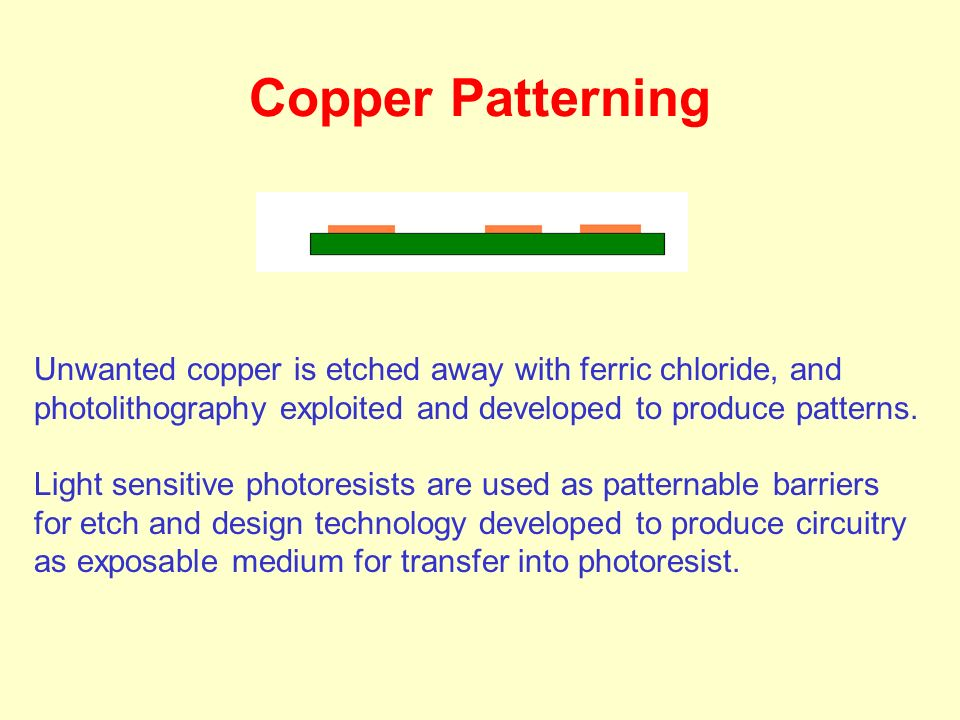 Copper Patterning Unwanted copper is etched away with ferric chloride, and photolithography exploited and developed to produce patterns.