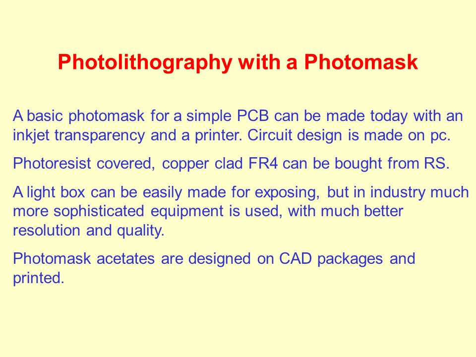 Photolithography with a Photomask