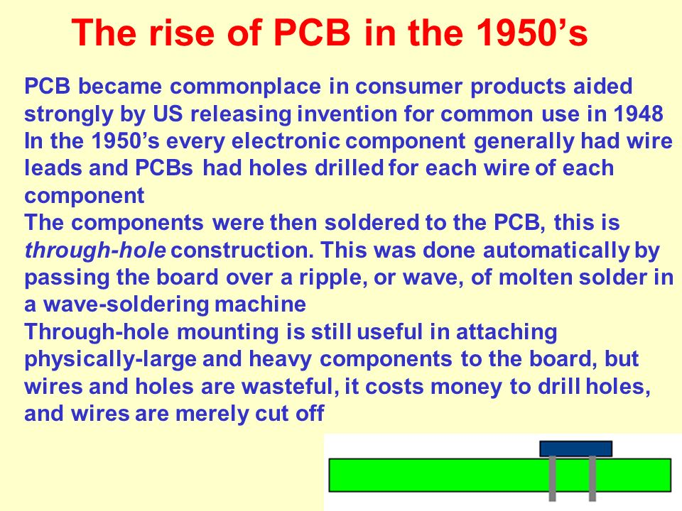 The rise of PCB in the 1950's PCB became commonplace in consumer products aided strongly by US releasing invention for common use in