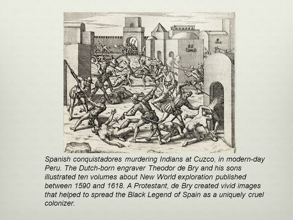 Spanish conquistadores murdering Indians at Cuzco, in modern-day Peru
