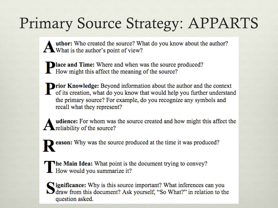 Primary Source Strategy: APPARTS