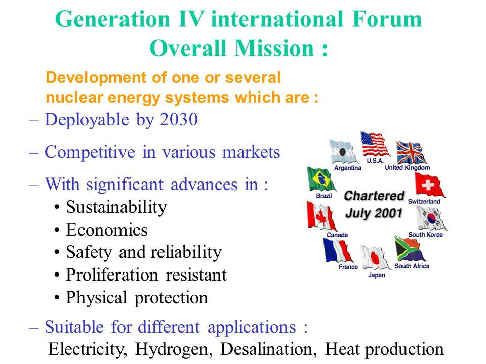 Generation IV international Forum Overall Mission :