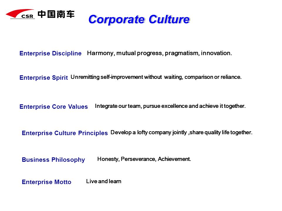 Corporate Culture Enterprise Discipline