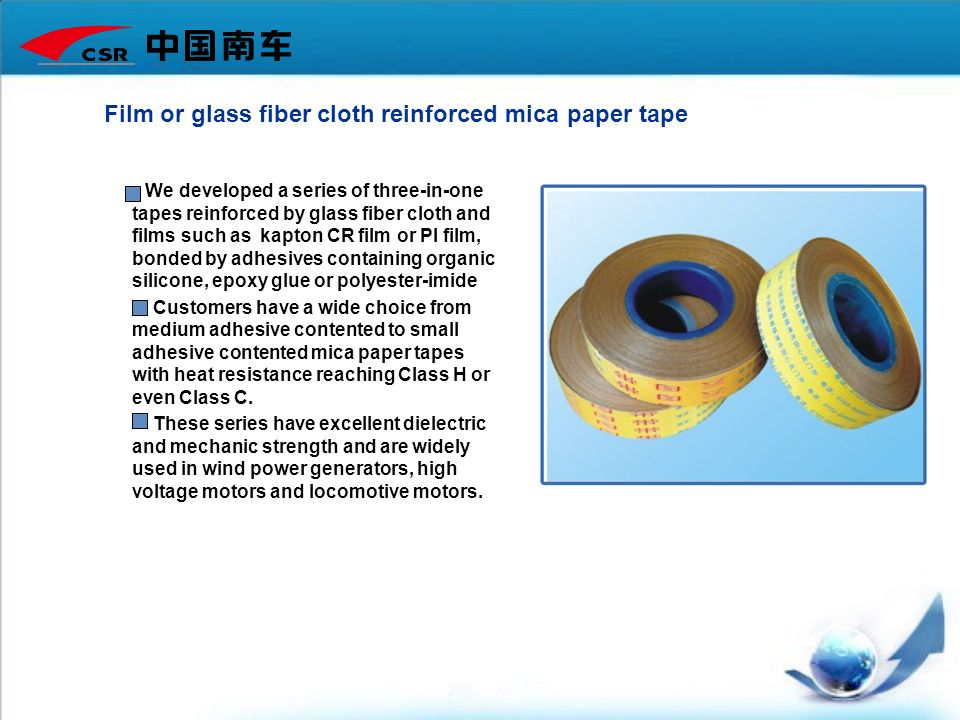Film or glass fiber cloth reinforced mica paper tape